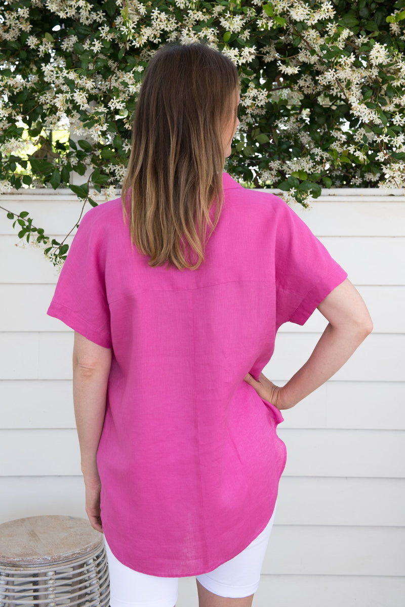 Hot Pink 100% Linen 1/2 Placket Short Sleeve Shirt