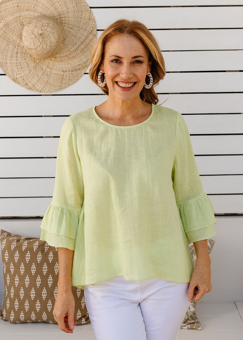 Lime 100% Linen Gauze Ruffle Sleeve Top