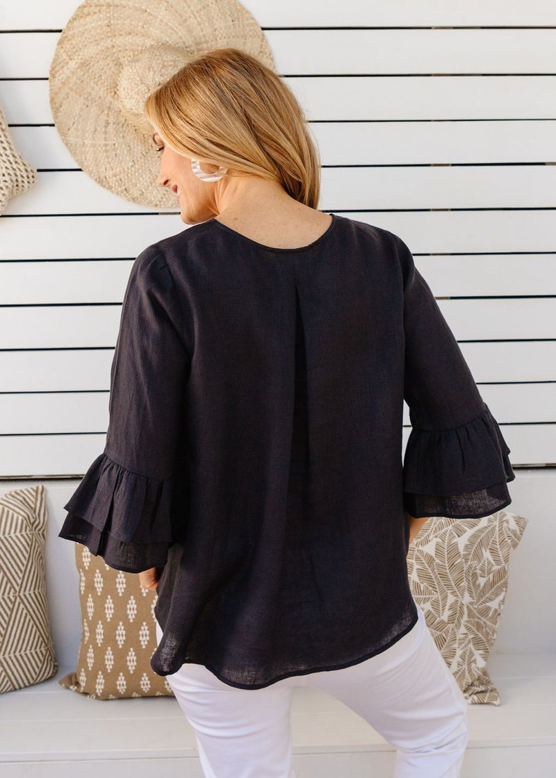 Navy 100% Linen Gauze Ruffle Sleeve Top