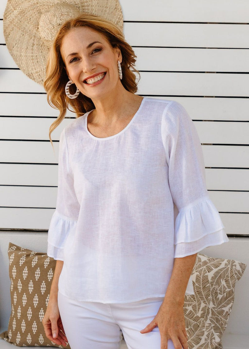 White 100% Linen Gauze Ruffle Sleeve Top