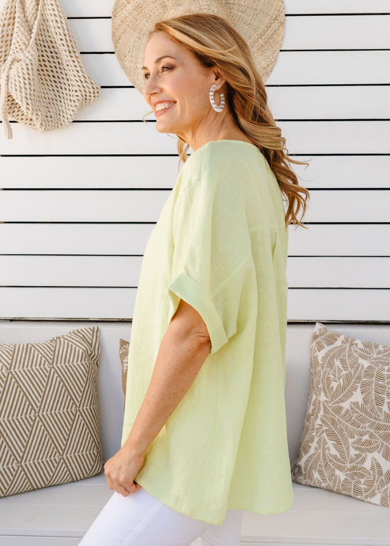 Lime 100% Linen Gauze Loose Fitting Top