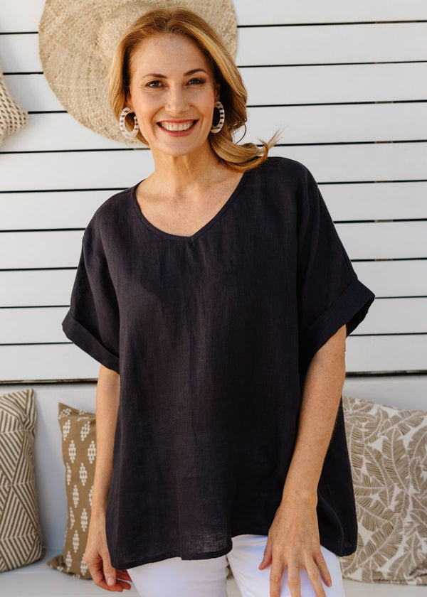 Navy 100% Linen Gauze Loose Fitting Top