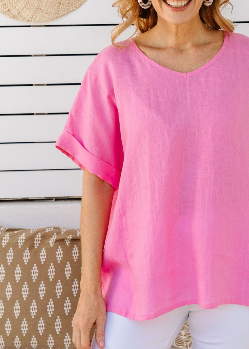Pink 100% Linen Gauze Loose Fitting Top