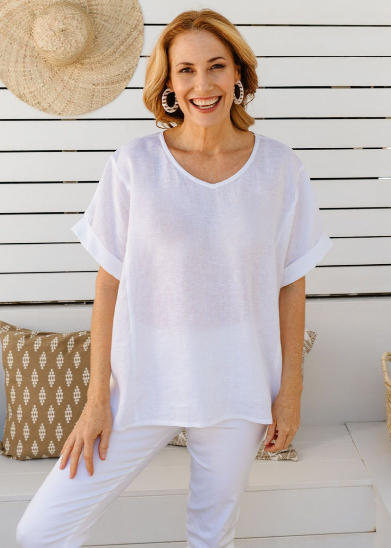 White 100% Linen Gauze Loose Fitting Top