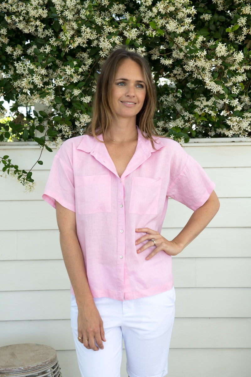 Pale Pink 100% Linen Short Sleeve Shirt