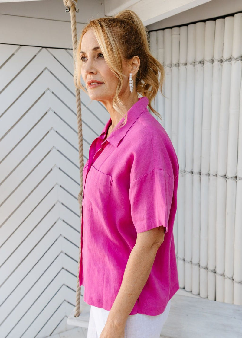 Hot Pink 100% Linen Short Sleeve Shirt