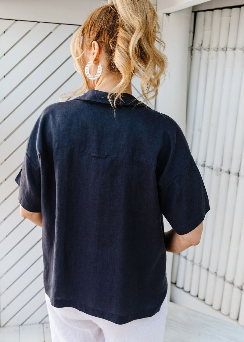 Navy 100% Linen Short Sleeve Shirt