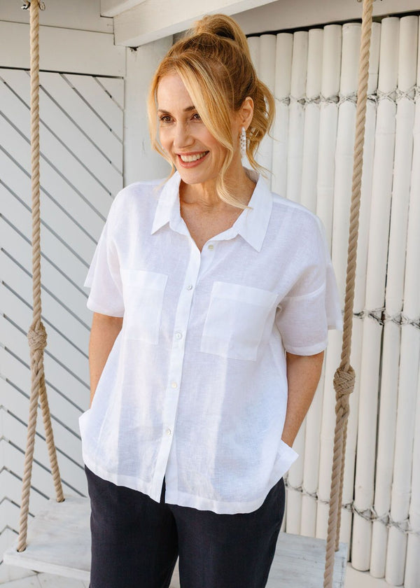 White 100% Linen Short Sleeve Shirt