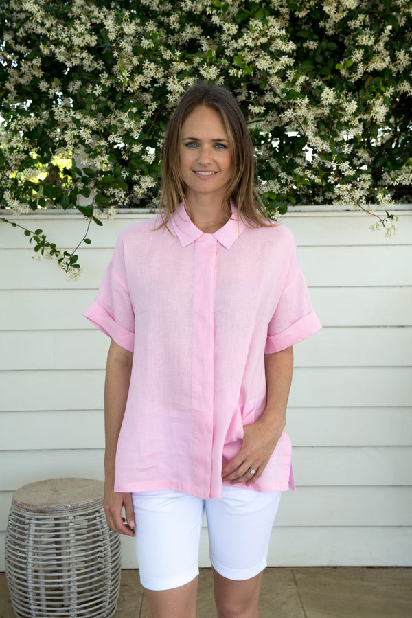 Pale Pink 100% Linen Button Through Shirt with Pockets