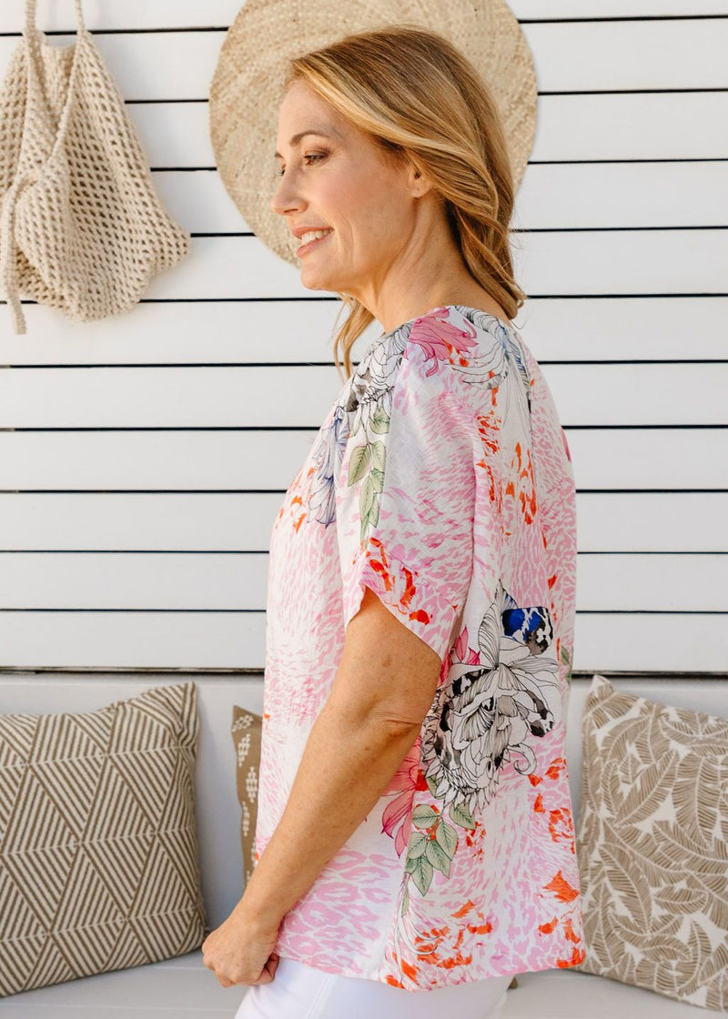 Soft Floral Print 100% Linen Boxy Top
