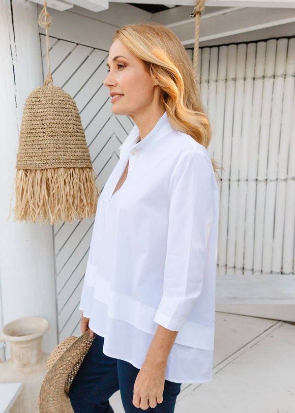White 100% Cotton Layered Hem 3/4 Sleeve Shirt