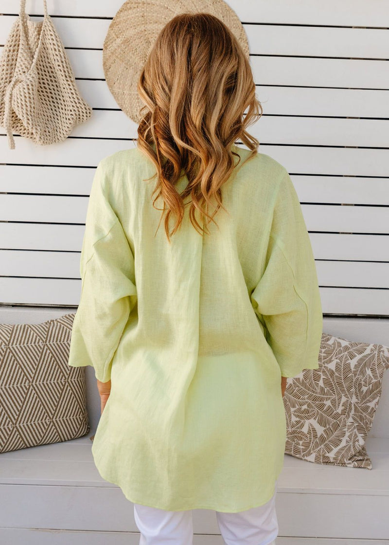 Lime 100% Linen Gauze Relaxed Shirt