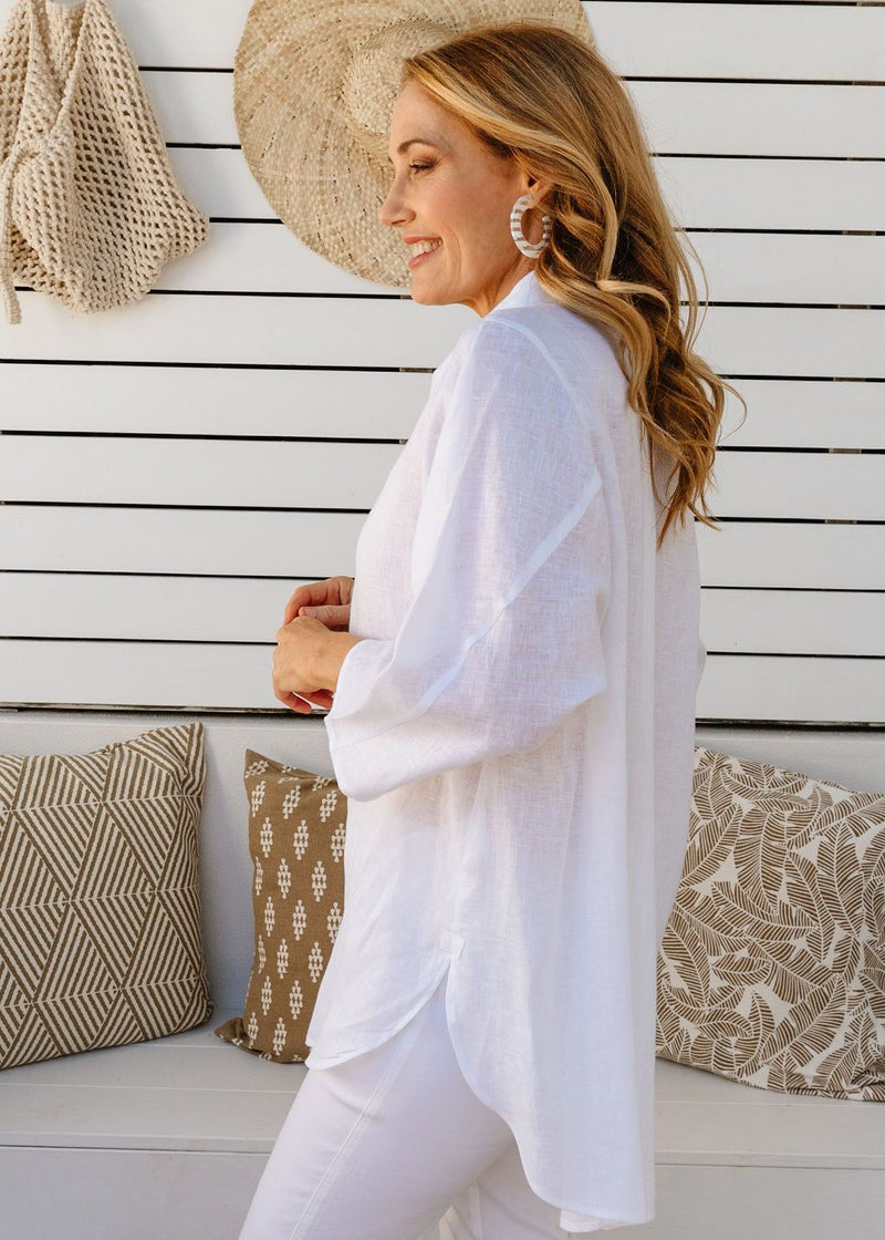 White 100% Linen Gauze Relaxed Shirt