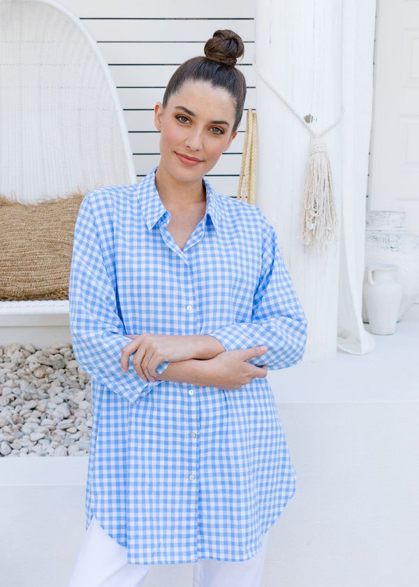 Cornflower / White Checked 70% Cotton 30% Linen Relaxed Shirt