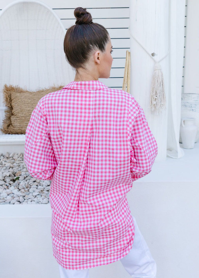 Hot Pink / White Checked 70% Cotton 30% Linen Relaxed Shirt