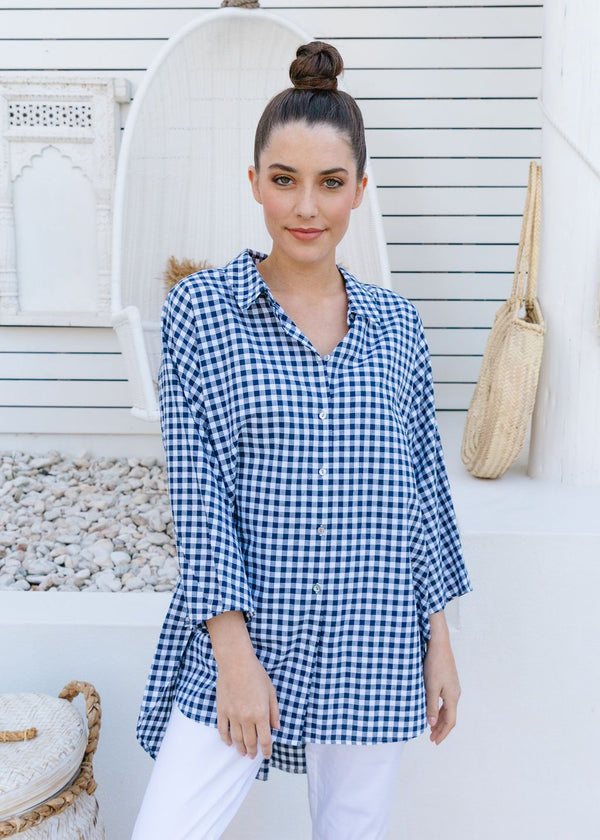 Navy / White Checked 70% Cotton 30% Linen Relaxed Shirt