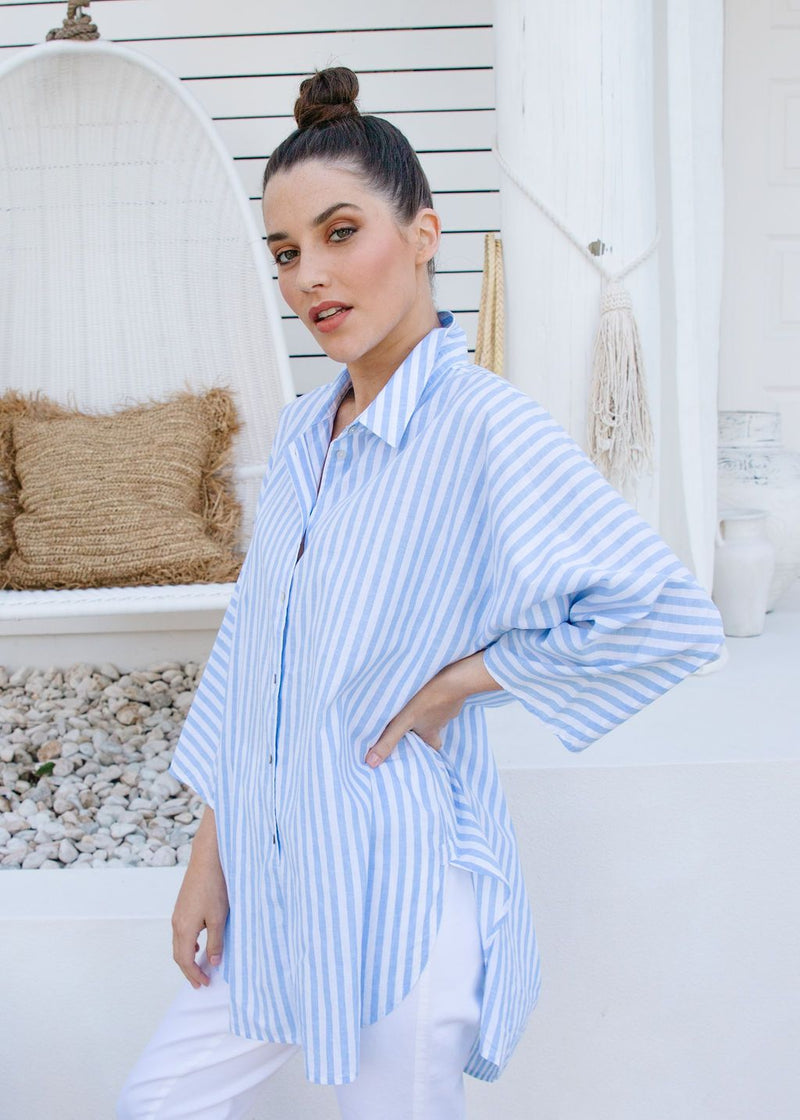 Cornflower / White Stripe 70% Cotton 30% Linen Relaxed Shirt
