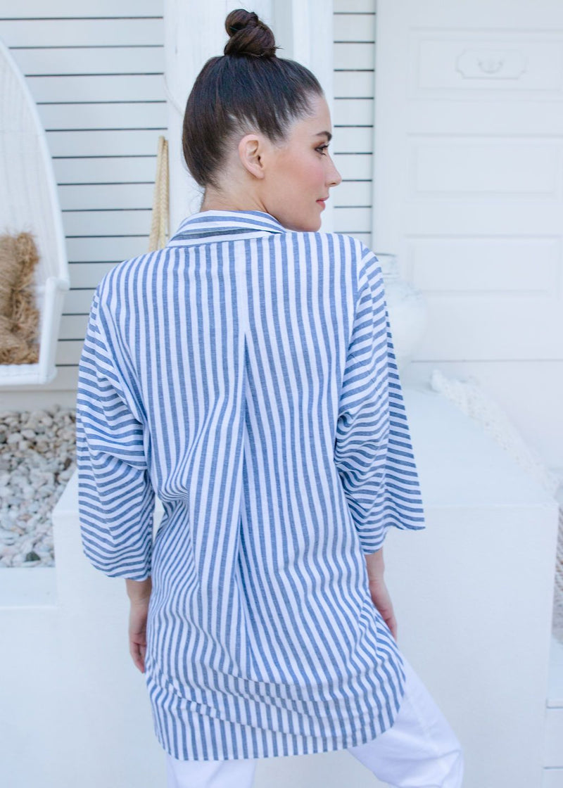 Navy / White Stripe 70% Cotton 30% Linen Relaxed Shirt