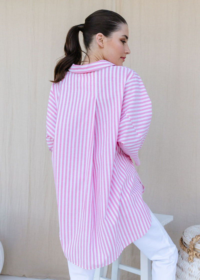 Rose Pink / White Stripe 70% Cotton 30% Linen Relaxed Shirt
