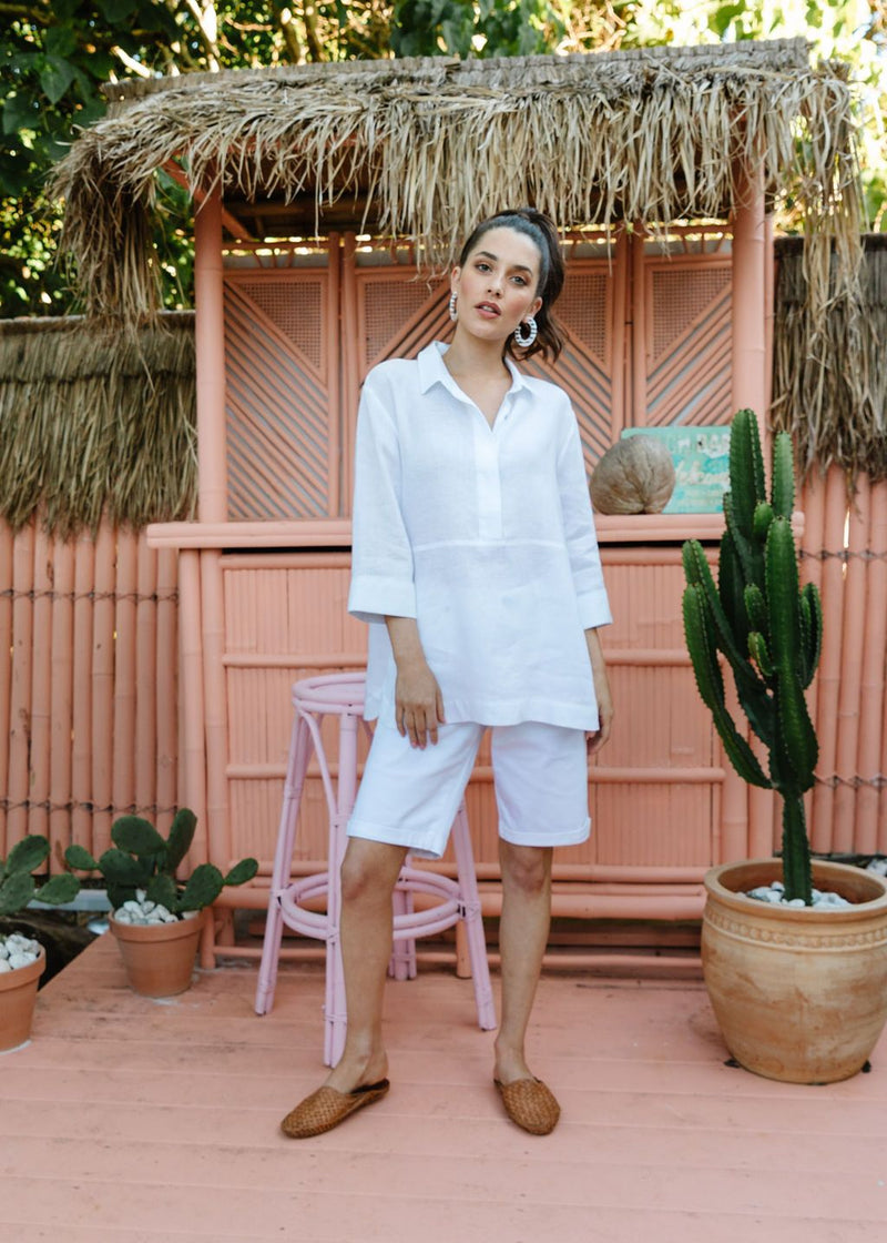 White 100% Linen 1/2 Placket 3/4 Sleeve Shirt