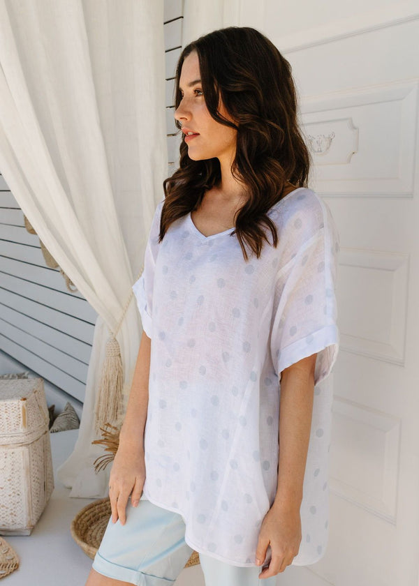 White / Soft Blue Spot Print 100% Linen Gauze Top