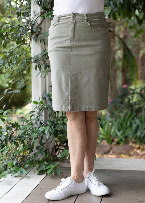 Khaki 98% Cotton 2% Spandex Corduroy 5 Pocket Knee Length Skirt