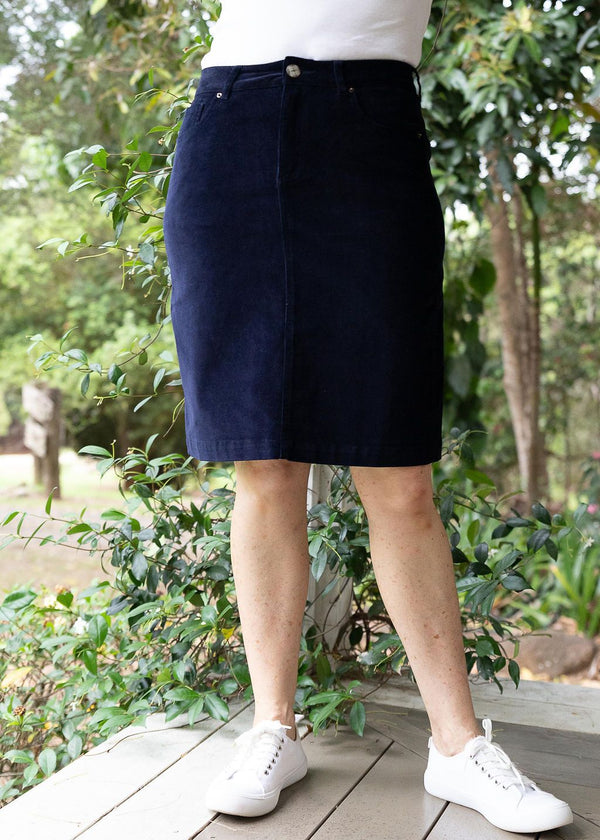 Navy 98% Cotton 2% Spandex Corduroy 5 Pocket Knee Length Skirt