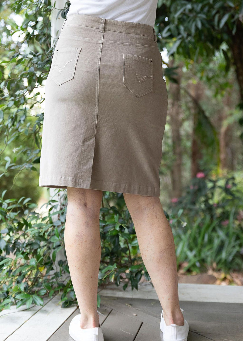 Taupe 98% Cotton 2% Spandex Corduroy 5 Pocket Knee Length Skirt