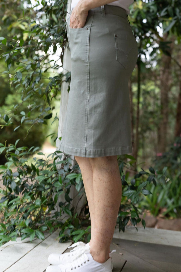 Khaki 98% Cotton 2% Spandex Twill 5 Pocket Skirt