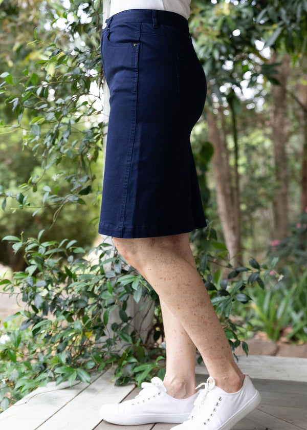 Navy 98% Cotton 2% Spandex Twill 5 Pocket Skirt