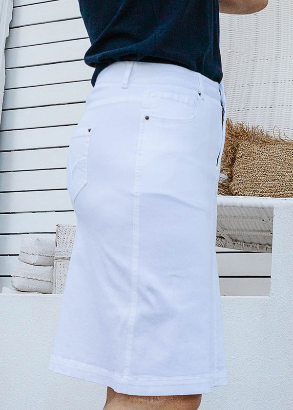 White 98% Cotton 2% Spandex Twill 5 Pocket Skirt
