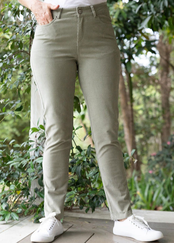 Khaki 98% Cotton 2% Spandex Corduroy 5 Pocket Jean