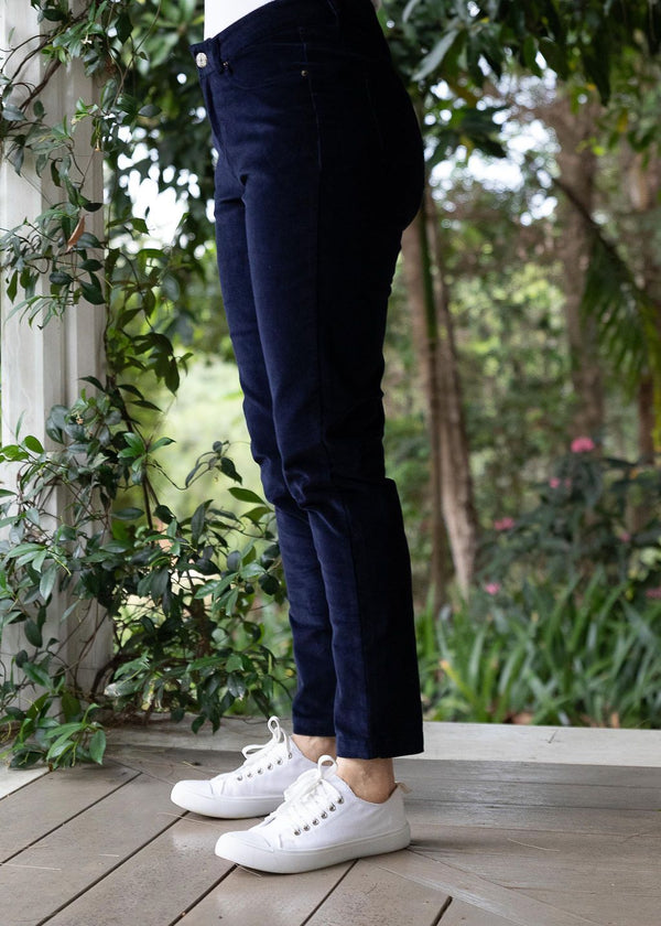 Navy 98% Cotton 2% Spandex Corduroy 5 Pocket Jean