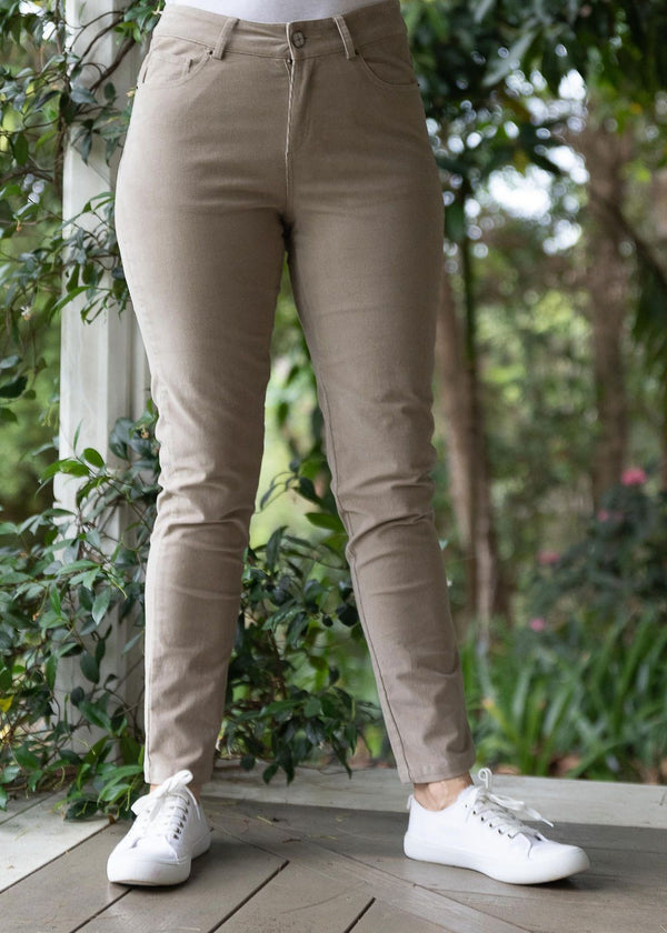 Taupe 98% Cotton 2% Spandex Corduroy 5 Pocket Jean