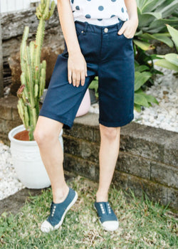 Navy 98% Cotton 2% Spandex Twill Shorts