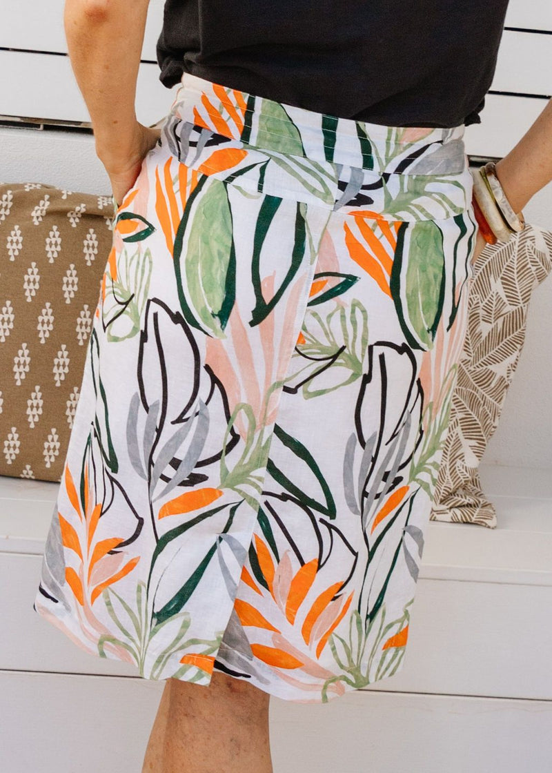 Abstract Leaf Print 100% Linen Draw String Skirt
