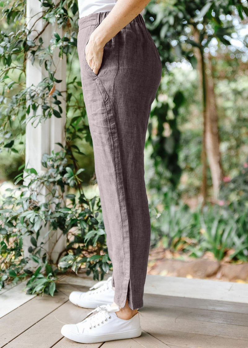 Coffee 100% Linen Classic Pant