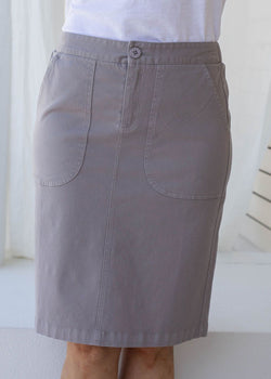 Cement 97% Cotton 3% Spandex Stretch Chino 5 Pocket Skirt