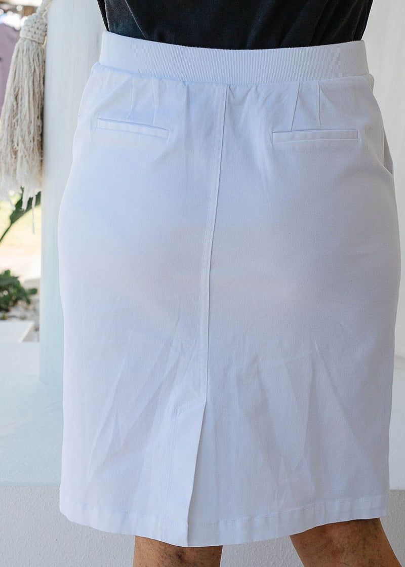 White 97% Cotton 3% Spandex Stretch Chino 5 Pocket Skirt