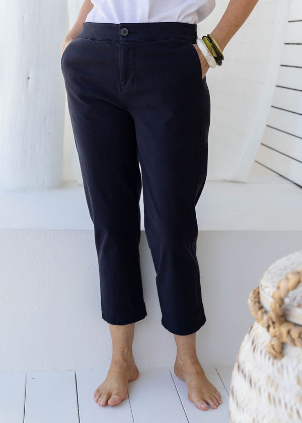 Navy 97% Cotton 3% Spandex Relaxed Chino Pant