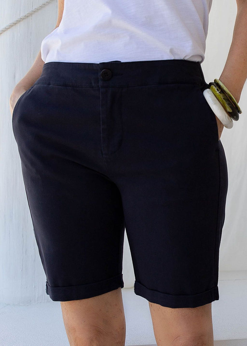 Navy 97% Cotton 3% Spandex Relaxed Chino Short