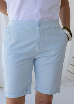 Soft Blue 97% Cotton 3% Spandex Relaxed Chino Short