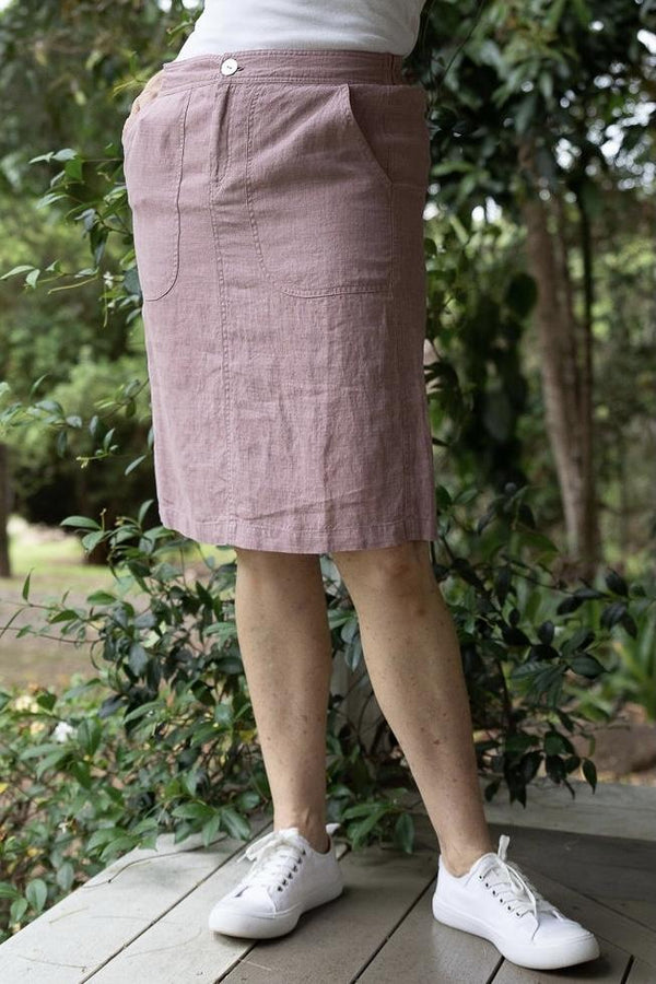 Dusty Pink 100% Linen Skirt