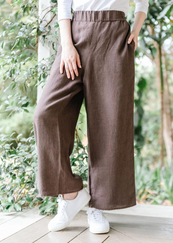 Coffee 100% Linen Wide Leg Pant