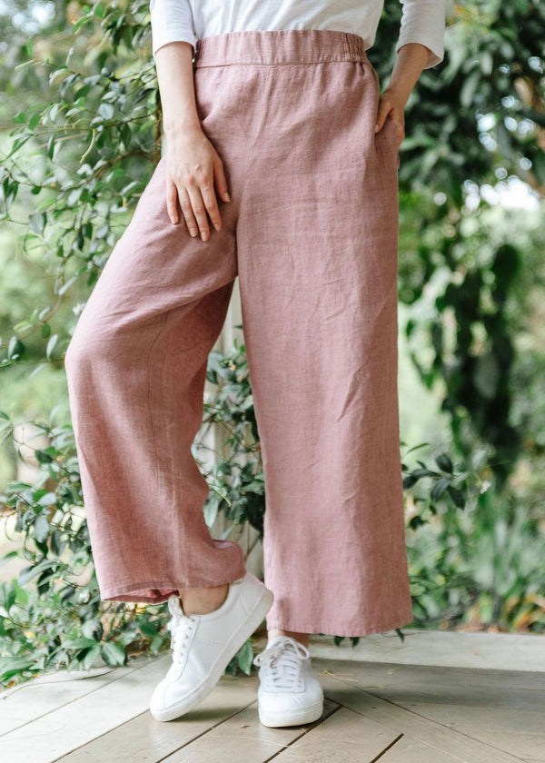 Dusty Pink 100% Linen Wide Leg Pant