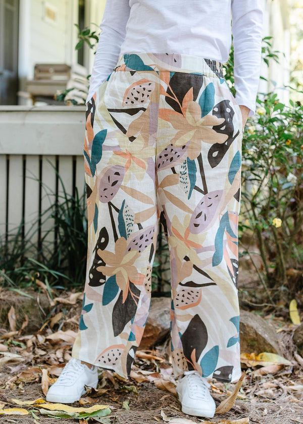Abstract Floral Print 100% Linen Wide Leg Pant