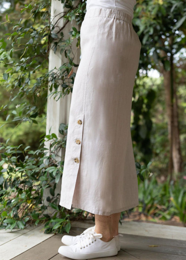 Almond 100% Linen Side Button Skirt