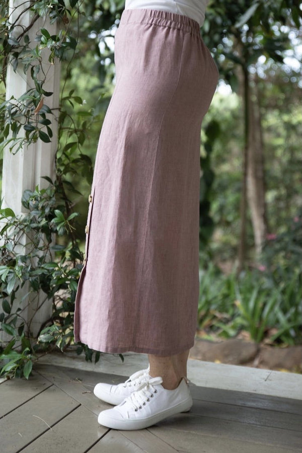 Dusty Pink 100% Linen Side Button Skirt