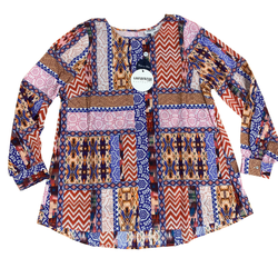 Aztec Print 100% Cotton Shirt with Tab Sleeve