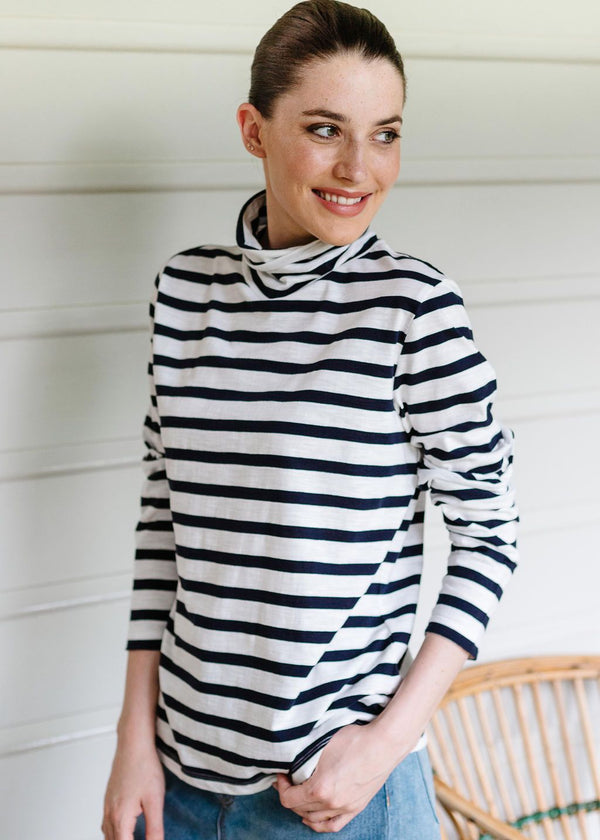Navy / Cream 100% Cotton Stripe Long Sleeve Skivvy